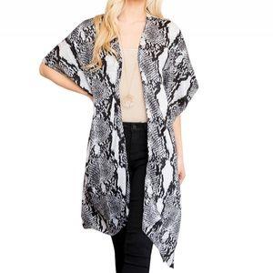 NEW Snake Print Kimono Cardigan White Black